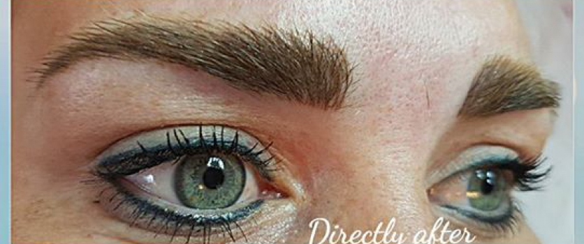 Clients eyeliner is healed I did it  a few years ago, did her brows today.