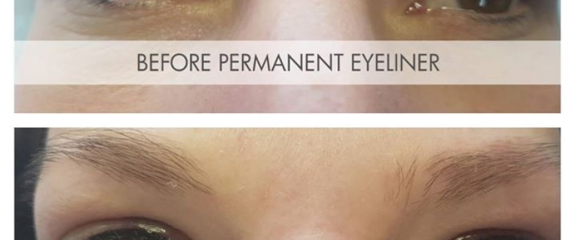 Before- and Immediately After Permanent Eyeliner (top & bottom) done by Doné's