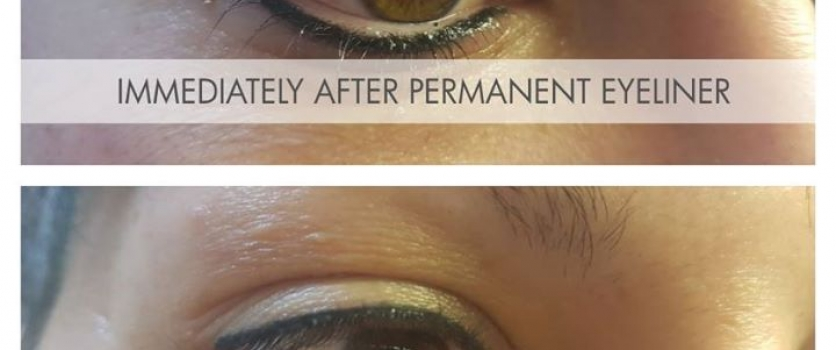 Immediately After- and Healed Permanent Eyeliner (top and bottom) done by Doné's