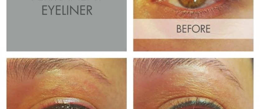Permanent Eyeliner: Before, Immediately After and Healed (before touch-up) done …
