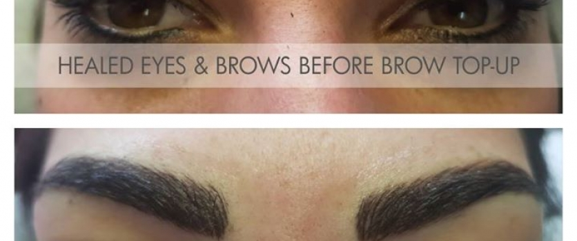 Before and after brow top-up, done at Doné's