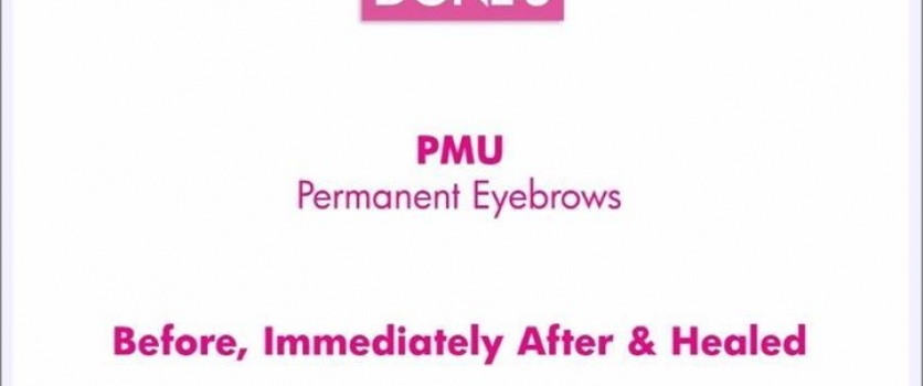 Permanent eyebrows Before, Directly After & Healed, done at Doné's