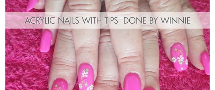 Acrylic nails with tips  done by Winnie from Doné's.