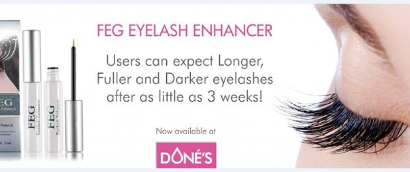 FEG Eyelash Enhancer, now available at Doné's.  Contact us for more information.