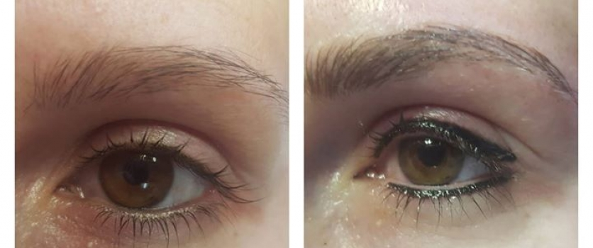 PMU EYEBROWS & EYELINER: Before and Directly After done at Doné's