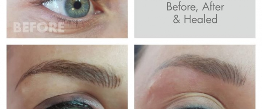 PMU BROWS & EYES: Before, Directly After and Healed – done at Doné's.