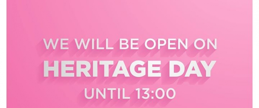 Doné's will be open today until 13:00. HAPPY HERITAGE DAY!