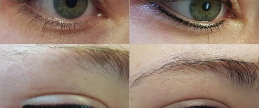 PMU: Before- During & After Permanent Eyeliner done at Doné'sPMU: Before- During…