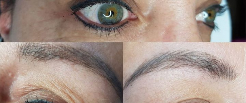 PMU Eyeliner and Eyebrows: Healed BEFORE touch-up and directly AFTER touch-up (s…