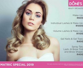 MATRIC SPECIALS 2019 AT Doné's:  • Make-Up: R600 • Individual Lashes & Make-Up: …