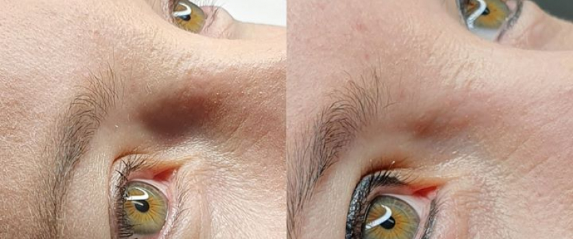 PMU Eyeliner: Before and Healed, done at Doné's