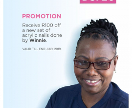 PROMOTION: Receive R100 off a new set of Acrylic Nails done by Winnie at Doné's …