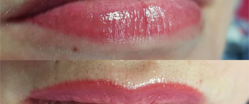 PMU: Healed Lips before touch-up, done at Doné's